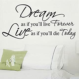 Dream As If You Will Live Forever Removable Vinyl Wall Stickers Mural Home Art Decal Kids Room Decor