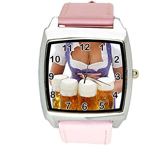 taport® Oktoberfest Cerveza cuarzo cuadrado Dial de reloj rosa Real correa de cuero BW texto + libre batería de repuesto + libre bolsa de regalo