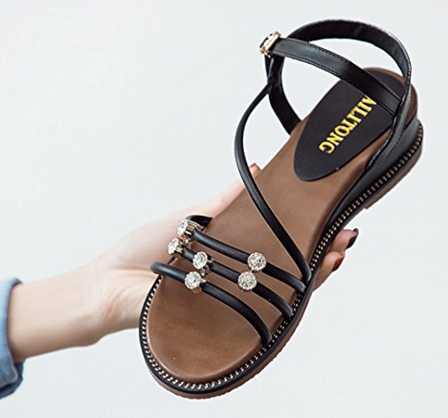 ea27d927142b34 SBL Flat sandals female summer wedge with open toe buckle buckle buckle  with rhinestones
