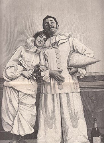 Karneval/Fasching - Pierrot und Pierrette. Das kostümierte Paar lehnt an einer getäfelten Wand, auf dem Boden stehen zwei Sektflaschen. [Grafik]