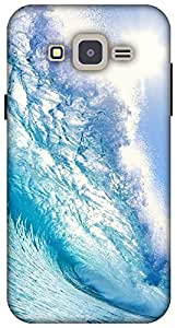 The Racoon Lean printed designer hard back mobile phone case cover for Samsung Galaxy J2. (blue wave)