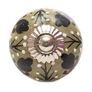 Textured GREEN Leaf Pattern CERAMIC Door Knobs / Drawer Pulls from INDIA. SET of 4. (REXK0113)