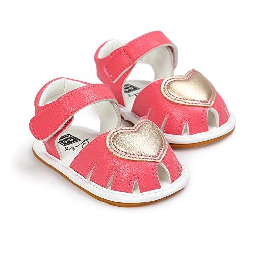 MiyaSudy Baby Schuhe Mädchen Liebe Herz Weiche Gummisohle Prinzessin lauflernschuhe krabbelschuhe Rose