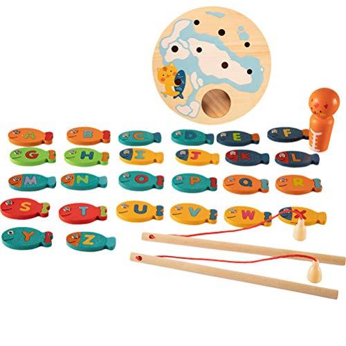 Daxoon Magnet-Angelspiel für Kleinkinder,Games und More Angelspiel Kinderspiel,26 Englisches Alphabet Lernspiel und Holzspielzeug