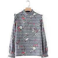 Camisa de impresion, impresion de hoja de loto cuello, camisa, suéter de las señoras de moda,Gray,L
