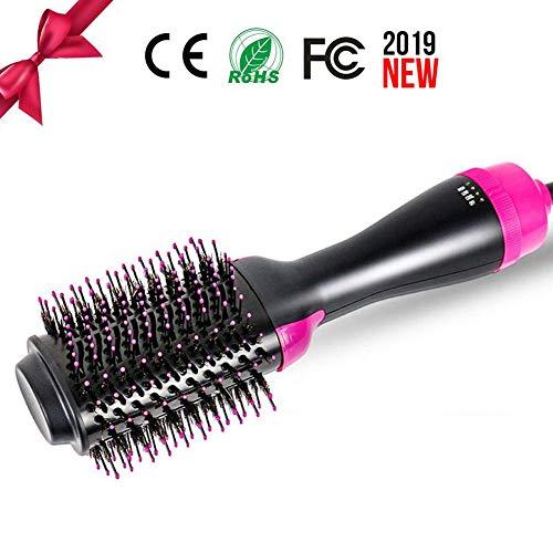 ANKIKI Sèche-Cheveux en Une étape Volumizer Styler Brush 3 en 1 Pince à Lisser d'ions négatifs Réduire Les frisottis et la Statique Anti-brûlure Peigne Cheveux bouclés,Black