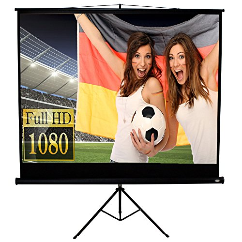 Jago Beamer Leinwand Heimkino mit Stativ 244 x 182 cm (304 cm Bilddiagonale / 120 Zoll) HDTV/3D tauglich