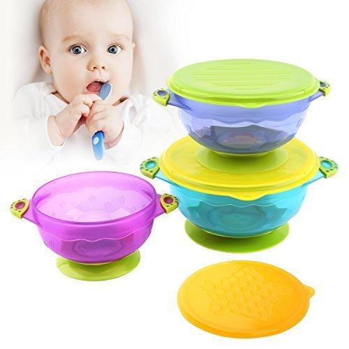 Zooawa Baby Saugnapf mit Deckel Set, 3er Pack Rutschfest Kinder Geschirr Schüssel Schale Schälchen Set Breischale Esslernschale Tischset babyteller für über 6 Monate Kleinkinder, BPA-Frei