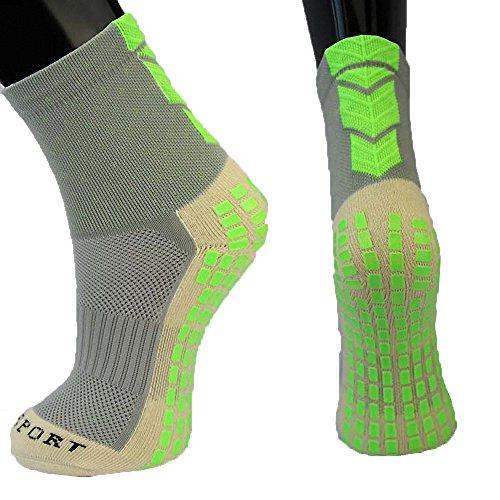 presox Unisex Sport Cushion Quarter Socken mit Gummi dicker Dots für Baseball/Fußball/Futbol Schienbeinschoner Einheitsgröße grau - - Basketball-schuhe Für 7 Jungen-größe