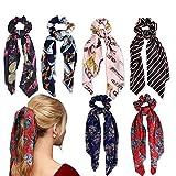 Kodior Schal Haargummis - 6/4PC Damen Schal Hair Scrunchies Bowknot Haargummis Lange Silk Satin Elastisches Haarband Seil Floral Hair Pferdeschwanz Haarschmuck Frau (Style A)