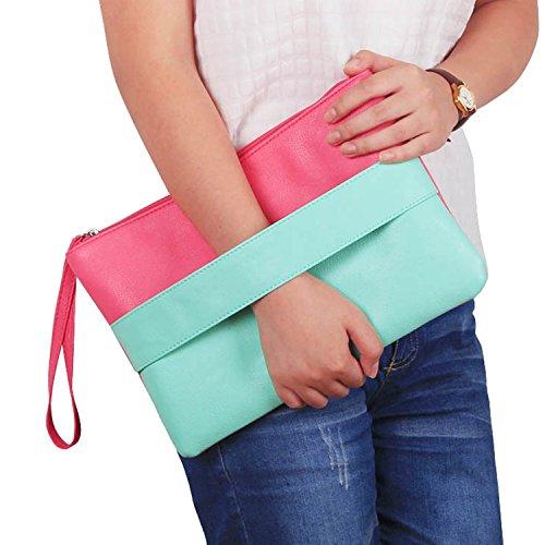 Aulei Mode Unterarmtasche Damen Kunstleder Handtasche Reißverschluss Clutch Umhängetasche Envelope Abendtaschen Blau