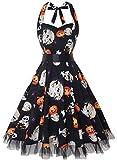 OTEN Vintage Kleider, Frauen mit Blumenmuster, 1950er-Jahre, Rockabilly Neckholder-Kleid Gr. XX-Large, Pumpkin Skull