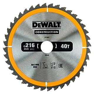 DEWALT DT1953 Construction Circular Saw Blade 216mm x 30mm x 40T, Yellow/Black, 216/30 mm 40WZ