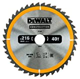 Dewalt DT1953-QZ Construction Circular Saw Blade 216mm x 30mm x 40T, Yellow/Black, 216/30