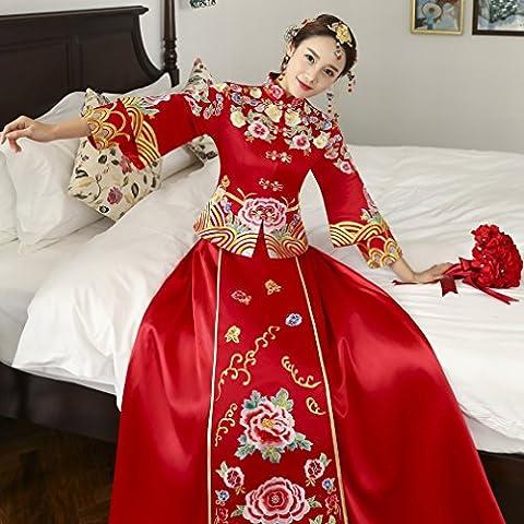 Xiu Wo Vêtements Robe de Mariage Chinoise Robe Cheongsam Longue Section Veste Longfeng Robe Mariage Mariée,UNE,XL