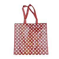 Bid Buy Direct® Large Reusable Grocery Bag Totes - Convenient Shopping Bags Eco-Friendly | Foldable | Multi-Use Reusable Heavy Duty Non-Woven Durable Bags in Attractive Polka Dot Designs! (Red)
