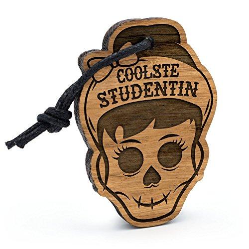 Fashionalarm Schlüsselanhänger Totenkopf Coolste Studentin aus Holz mit Gravur | Geschenk Idee Studium Studieren Universität Fachhochschule