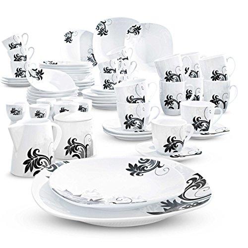 Schwarz-kaffee-tisch-set (Wellco Kombiservice Black Flower 62tlg. schwarz/weiß)