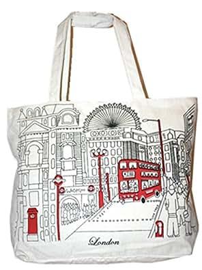Value for Money White Canvas London Landmark Red Bus Shopper bag