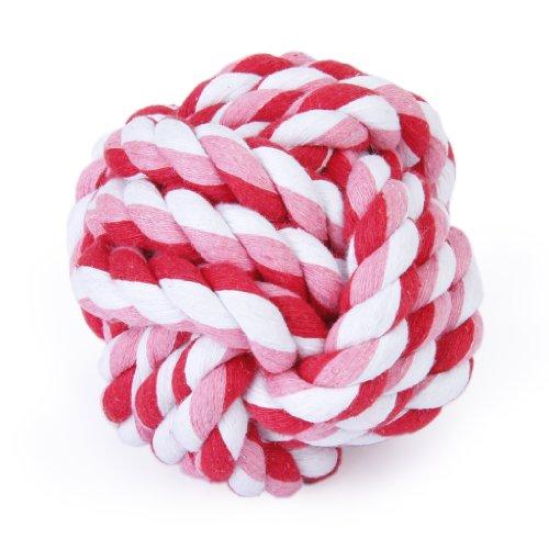 Haustier Hund geflochtenes Baumwoll Seil Knoten kauen Spiele Spielzeug Zähne sauber Kugeln Durchmesser 9cm (Bälle Baumwolle Hund)