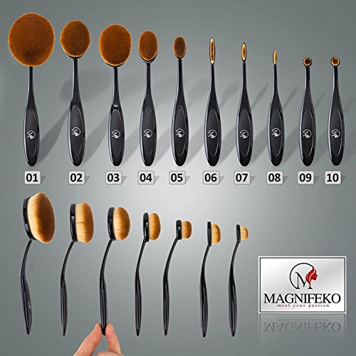 Professional Oval Makeup Brush - Set of 10 Brushes with Soft Toothbrush design Design For Foundation, Concealer, BB cream, Powder