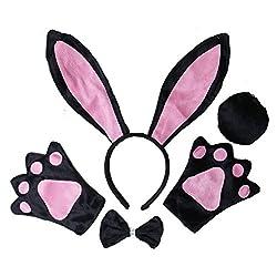 Kirei Sui Kids Animal Costume Ears Headband Bowtie Tail Paws Set