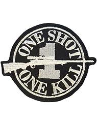 Sniper Sew/Iron on Patch ONE SHOT ONE KILL Morale Camo Uniform BDU Military Milspec