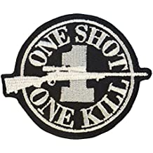 Sniper Sew/Iron on Patch ONE SHOT ONE KILL Morale Camo Uniform BDU Military Milspec