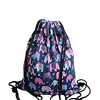 Scrox Fashion Shoulder Drawstring Elephant Purple Backpack Rucksack School Swim Gym PE Rucksack Outdoor Sports Shoulder Bags Size 34.5 * 40cm