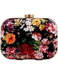 Women'S Floral Print Pu Leather Hardbox Clutch Colorful Mini Prom Evening Bag With Chain(Multi) By Staychicfashion