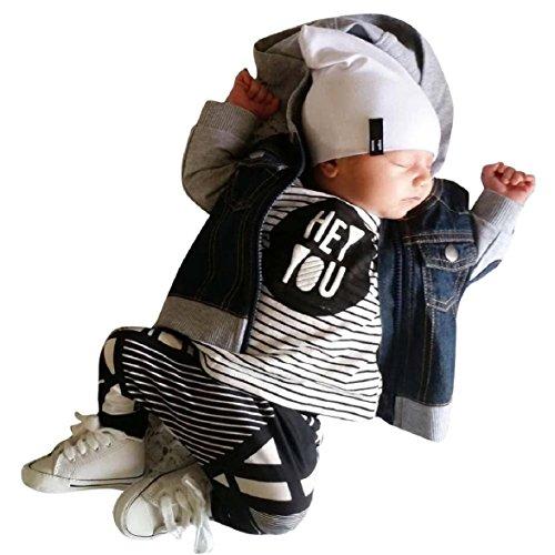 Overdose Baby Jungen Outfit Kleidung Streifen-Druck-Hemd-Oberseiten + lange Hosen Hose 6-24 Monate (18-24M, (Monate Kostüm 18 Elsa 12)