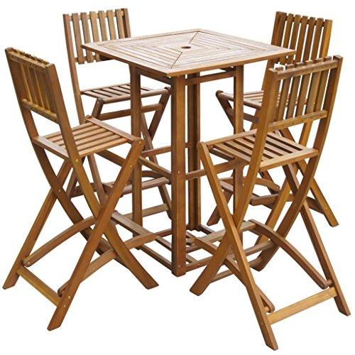 SSITG 5-tlg. Barset Gartenbar Sitzgruppe Sitzgarnitur Gartenmöbel Akazienholz