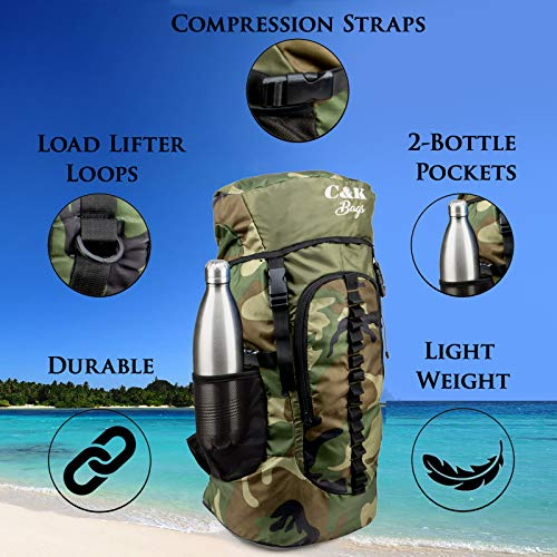 Chris & Kate Large Army Green Camouflage Bag || Travel Backpack || Outdoor Sport Camp Hiking Trekking Bag || Camping Rucksack Daypack Bag (45 litres)(CKB_186LL) Image 3