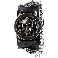 UNIQUEBELLA Fashion Men's Gothic Punk Quartz Wrist Watch, Vintage Skull Skeleton Leather strap Unisex Bracelet Wristband Wrist Watch, Black