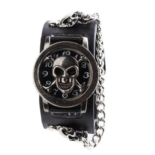 uniquebella Fashion Herren Gothic Punk Unisex-Armbanduhr, Vintage Skull Skelett Lederband Quarz Armband Armbanduhr, Schwarz, 1