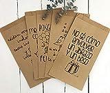 25 bolsas con fuelle lateral impresas en papel kraft 100% reciclado. Bolsas de regalo con mensajes positivos. Regala buen rollo. regala una sonrisa.