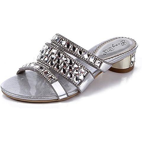 Ei&iLI Verano rhinestone sandalias cm 3 Slip-on tacón bajo de mujeres de novia vestido de plata de zapatillas playa partido , silver , 33