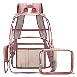 NiceEbag Clear Rucksack mit Kosmetiktasche & Tasche, Klar Transparent PVC Multi-Taschen Schulrucksack Outdoor Bookbag Reise Make-up Quart Gepäck Beutel Organizer Fit 15,6 Zoll Laptop,Roségold