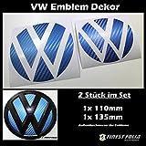 Finest Folia 047 Emblem Ecken Inlays Folie Aufkleber Passgenau (Carbon Blau)
