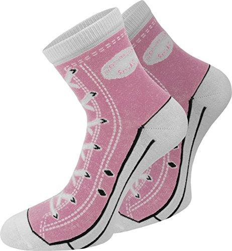 normani 4 Paar Baumwoll Socken im Schuh - Design Farbe Rosa Größe 39/42