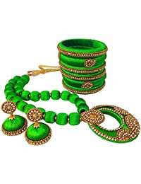 Youth Trendy Lime Green Silk Thread Jewellery Set - Bangles, Necklace And Earrings For Women
