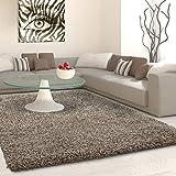 Hochflor Langflor Shaggy Teppich Uni Farbe Verschiedene Größen und Farben - Taupe, 200x290 cm