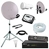 netshop 25 Digital Camping SAT Anlage 40 cm Spiegel + HD Receiver + Digitaler SAT Finder + HD Single LNB + 10m Kabel + Dreibein-Stativ