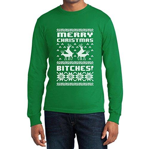 Frohe Weihnachten Bitches Langarm T-Shirt Grün