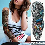 tzxdbh Grand Bras Bras de Tatouage Hibou Mains Horloge imperméable Autocollant de Tatouage temporaire Angel Cloud Ladder Hommes Full Red Tattoo