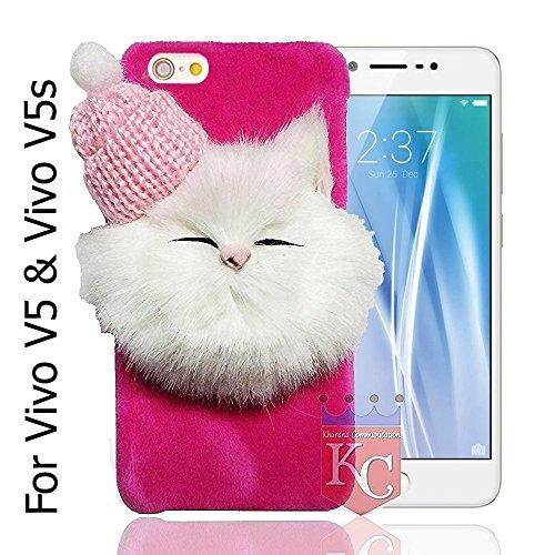KC Girls Soft Fluffy Fur Cartoon Kitty with Woolen Cap Back Cover for Vivo V5/V5s - (Pink)