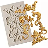 First Try Mini Baroque Curlicues Vintage Scroll Sculpted 3D Retro Palace Lace Fondant Silicone Mold for Sugarcraft, Cake Deco