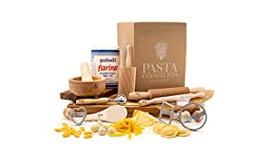 Pasta Making Kit - Pasta Evangelists - Expert Pasta Maker - Fresh Italian Artisan Pasta - 11 Piece Set - 00 Flour and Instructions Included - Beechwood Pasta Roller and Tools - Authentic Ingredients