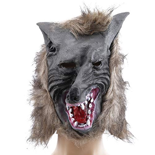 Plus Für Werwolf Erwachsene Kostüm - Pinhan Halloween Terror Wolf Prowler Maske mit Haar Werwolf Kostüm Kopf Maske für Halloween Cosplay Kostümparty