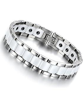 Cupimatch Herren Magnet Edelstahl Keramik Armband, 13mm breite Rechteck Link Handgelenk Magnetarmband Armreif,...